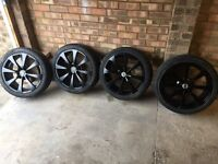"""Team Dynamics 17"""" Black 8 spoke alloys with 215/40 ZR17 tyres, 4 x 100 stud (2 tyres are new)"""
