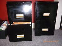 2 Black metal filing cabinets