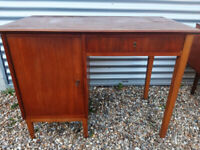 Vintage retro teak wooden small Danish mid century desk office table 60s 70s
