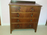 Solid Mahogany chest of drawers and matching mirror back dressing table
