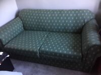 Sofa bed 2 large seater green with gold pattern