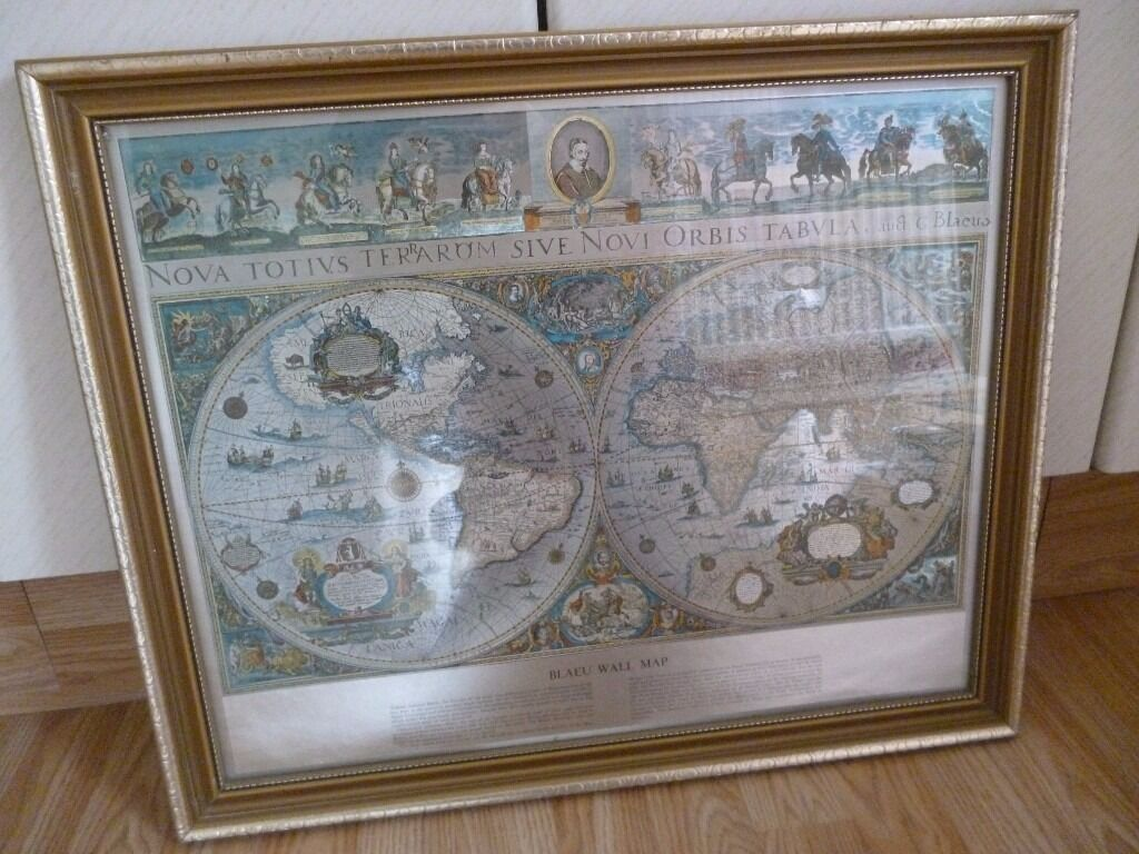 Framed blaeu wall map gold antique world map in cwmbran torfaen framed blaeu wall map gold antique world map gumiabroncs Image collections