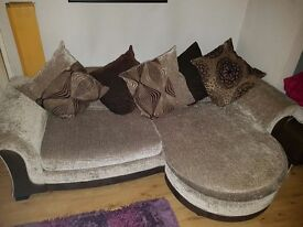 4 seater corner sofa and matching 3 seatwr sofa with foot stool