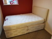 Double divan bed with 4 drawer storage and mattress