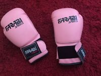 Girls Ladies Pink White Boxing Gloves for Sport Training