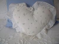 Vintage (1980s?) St Michael (Marks & Spencer/M&S) rosebud circular/heart cushion covers & heart pad.