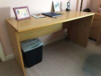 Simple, well-made natural solid oak vanity board desk