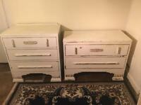 Set of 2 Vintage Upcycled chest of drawers