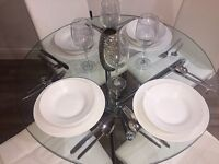Round Glass Table & 4 White Faux Leather Chairs