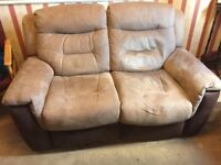 Electric reclining 2 seater sofa and electric reclining armchair