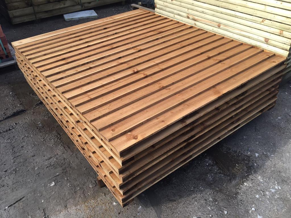 🌺New Pressure Treated Brown Feather Edge FlatTop Fence Panels