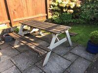 Wooden pub bench