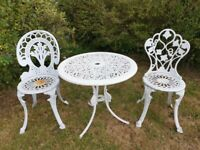 Cast Metal/Aluminium Garden table and 2 chairs