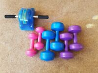 6 Dumbbells and rolling exerciser