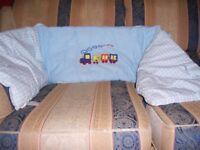 John Lewis light blue cot bumper with train detail