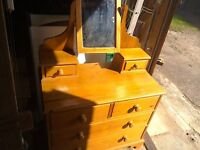 Solid pine chest of drawers with mirror