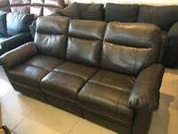 New Designer Brown 100 % Leather 3 Seater Recliner Sofa