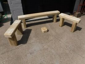 Solid pine bench Seats. New 2 short and 1 long.