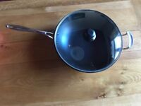 Large wok with Tempered Glass Lid with Handle