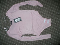 New Light Pink Women/Ladies Plain, Long Sleeve Bodysuit/Leotard/Dancewear with snap crotch, size S/M