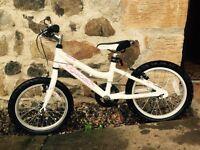 Ridgeback Melody Girls Bike 16 inch (White with pink writing)