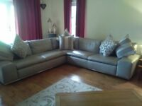 BARGAIN Dfs Palladium Leather Corner Sofa and Chair