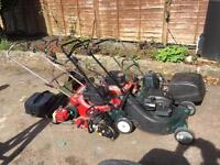 job lot of lawn mowers for spares or repairs only.