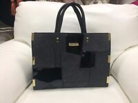 Brand New Ted Baker Large Black Bag Patchwork Nubuck Style Fabric & Grab Handles £27.50 ono