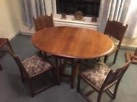 Solid Oak vintage drop leaf dining table and chairs