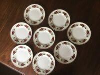"Lovely set of 8 vintage Sheridan bone china dessert plates 8.5"", red rose design"