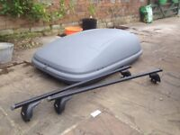 Halfords Car Roof Box with Key and Thule Roof Bars