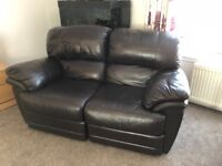 2 seater brown leather couch recliner