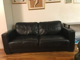Black Leather Sofa Bed TEXT: 07947 570 528