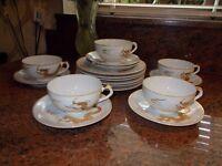 A VINTAGE DRAGONWARE 20 PIECE TEA SET WITH LITHOPHANE GEISHA GIRL