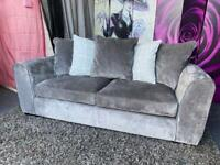 Campbell Chenille Fabric 3 Seater Sofa with Scatter Back Cushions In Grey