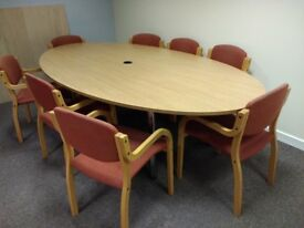 Large conference table and matching chairs