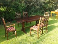 OAK TABLE/6 CHAIRS