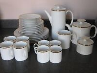 Stunning Porcelain White Tea/Coffee Set with Gold Rim