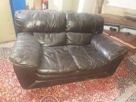 Black faux leather sofa 2 seater