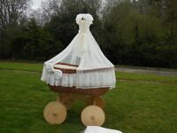 Wicker Crib Moses Basket,Cream With Bedding+Drape
