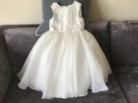 Sarah Louise Ivory Tulle Beaded Flower Girl/Occasion Dress with matching Shoes and Hair Bow