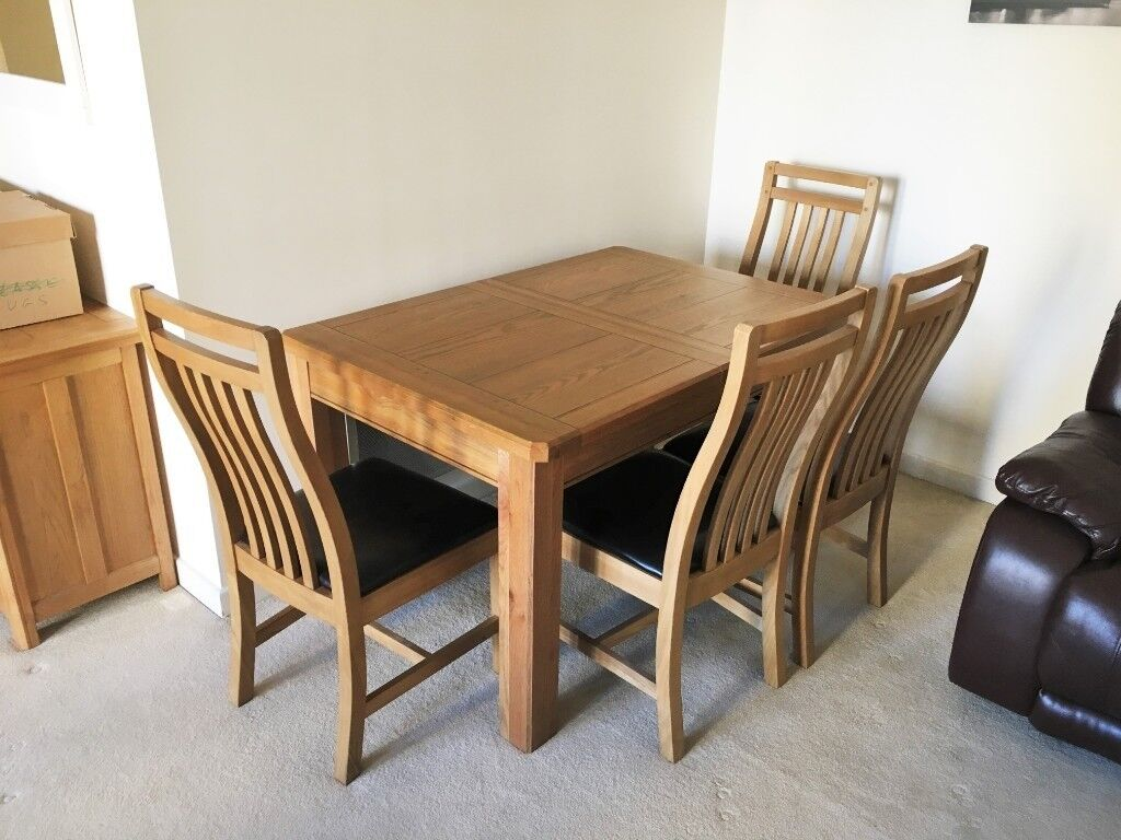 online store 37722 179d5 Harveys - Calais solid oak extending dining table, with four solid wood  chairs. Excellent condition. | in Fetcham, Surrey | Gumtree