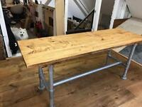 Industrial Scaffold Desk/Table - Solid Wood Top