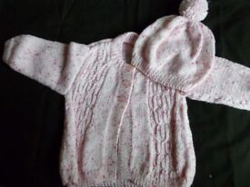 Hand knitted baby girl coat and hat, brand new
