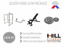 Silver Home Gym Package - Power Cage Adjustable Bench Olympic Weights and Barbell