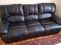 Black Recliner sofa - 3 Seater - Used - For quick sale.