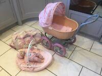Baby annabell bundle pram, musical rocker, my first baby annabell doll and wheelie bag
