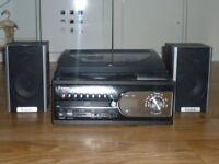 Steepletone SMC99R Turntable CD Radio USB Speakers