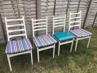 4 chairs in good physical condition but in need of simple re upholstering.