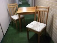 Table & 2 re-covered chairs